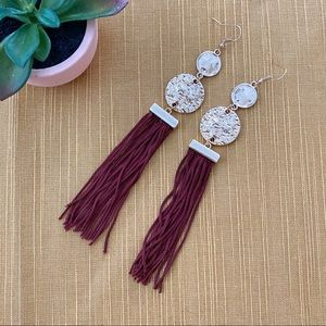 Francescas Maroon Gold Tassel Earrings